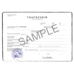 Taufschein DE Taufbescheinigung allemand Allemagne